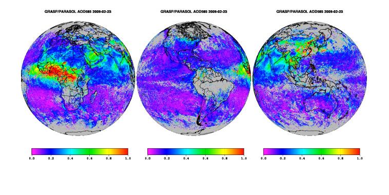 Distribution planétaire des aérosols vue depuis l'espace